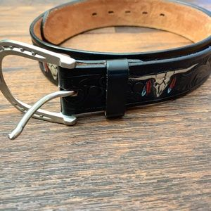Vintage Bull Skull Leathered Hand Painted Belt